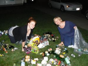 Angie's daughter and I sorting bottles